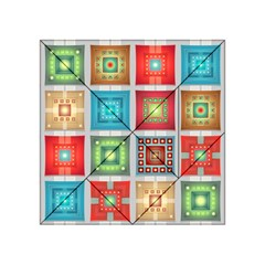 Tiles Pattern Background Colorful Acrylic Tangram Puzzle (4  x 4 )