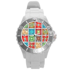 Tiles Pattern Background Colorful Round Plastic Sport Watch (L)