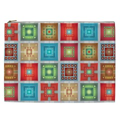 Tiles Pattern Background Colorful Cosmetic Bag (XXL)