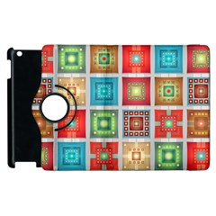 Tiles Pattern Background Colorful Apple iPad 2 Flip 360 Case