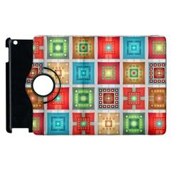 Tiles Pattern Background Colorful Apple iPad 3/4 Flip 360 Case