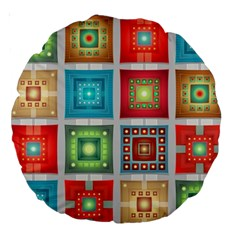 Tiles Pattern Background Colorful Large 18  Premium Round Cushions