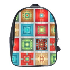 Tiles Pattern Background Colorful School Bags (xl)