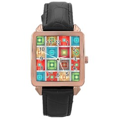Tiles Pattern Background Colorful Rose Gold Leather Watch