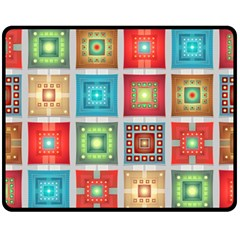 Tiles Pattern Background Colorful Double Sided Fleece Blanket (Medium)