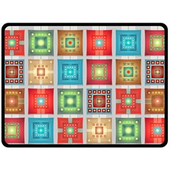 Tiles Pattern Background Colorful Double Sided Fleece Blanket (Large)