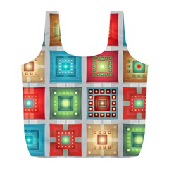 Tiles Pattern Background Colorful Full Print Recycle Bags (L)