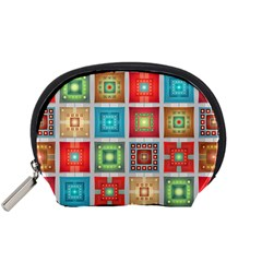 Tiles Pattern Background Colorful Accessory Pouches (Small)