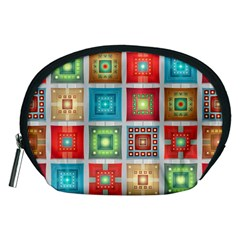 Tiles Pattern Background Colorful Accessory Pouches (Medium)