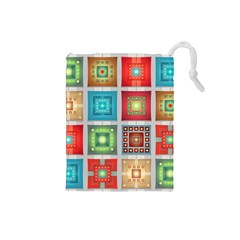 Tiles Pattern Background Colorful Drawstring Pouches (small)