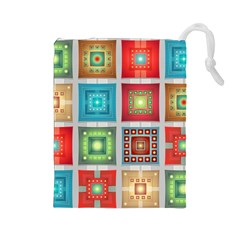 Tiles Pattern Background Colorful Drawstring Pouches (large)