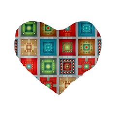 Tiles Pattern Background Colorful Standard 16  Premium Flano Heart Shape Cushions