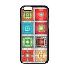Tiles Pattern Background Colorful Apple iPhone 6/6S Black Enamel Case