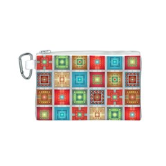 Tiles Pattern Background Colorful Canvas Cosmetic Bag (S)