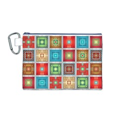 Tiles Pattern Background Colorful Canvas Cosmetic Bag (M)