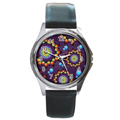 Texture Background Flower Pattern Round Metal Watch