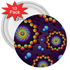 Texture Background Flower Pattern 3  Buttons (10 pack)