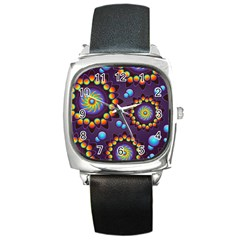 Texture Background Flower Pattern Square Metal Watch