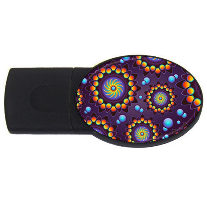 Texture Background Flower Pattern USB Flash Drive Oval (4 GB)