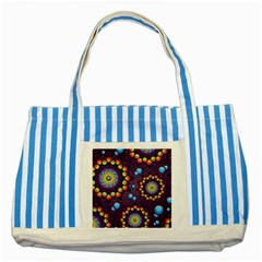 Texture Background Flower Pattern Striped Blue Tote Bag