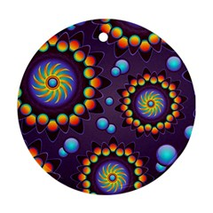 Texture Background Flower Pattern Round Ornament (Two Sides)