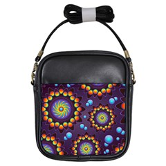 Texture Background Flower Pattern Girls Sling Bags