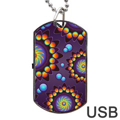Texture Background Flower Pattern Dog Tag USB Flash (Two Sides)