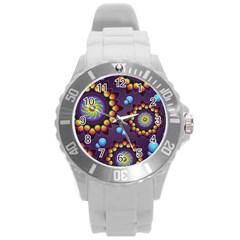 Texture Background Flower Pattern Round Plastic Sport Watch (L)
