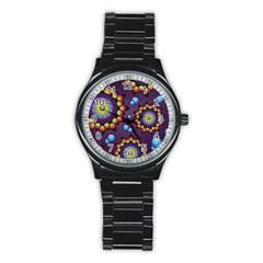 Texture Background Flower Pattern Stainless Steel Round Watch