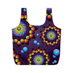 Texture Background Flower Pattern Full Print Recycle Bags (M)