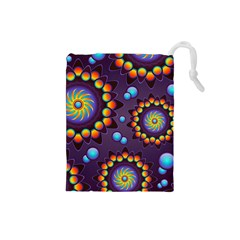 Texture Background Flower Pattern Drawstring Pouches (Small)
