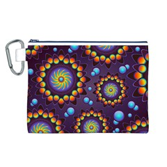 Texture Background Flower Pattern Canvas Cosmetic Bag (L)