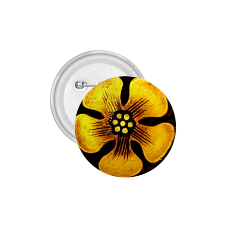 Yellow Flower Stained Glass Colorful Glass 1.75  Buttons