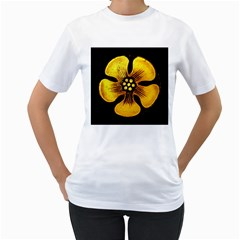Yellow Flower Stained Glass Colorful Glass Women s T Shirt (white) (two Sided)