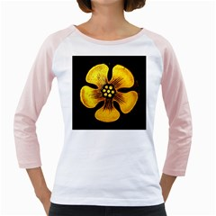 Yellow Flower Stained Glass Colorful Glass Girly Raglans