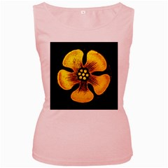 Yellow Flower Stained Glass Colorful Glass Women s Pink Tank Top