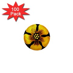 Yellow Flower Stained Glass Colorful Glass 1  Mini Buttons (100 Pack)