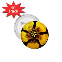 Yellow Flower Stained Glass Colorful Glass 1 75  Buttons (10 Pack)