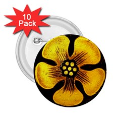 Yellow Flower Stained Glass Colorful Glass 2.25  Buttons (10 pack)