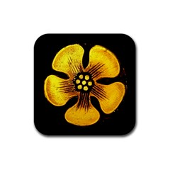Yellow Flower Stained Glass Colorful Glass Rubber Coaster (Square)