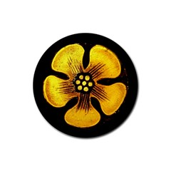 Yellow Flower Stained Glass Colorful Glass Rubber Round Coaster (4 pack)