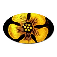 Yellow Flower Stained Glass Colorful Glass Oval Magnet
