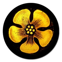 Yellow Flower Stained Glass Colorful Glass Magnet 5  (Round)