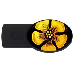 Yellow Flower Stained Glass Colorful Glass USB Flash Drive Oval (2 GB)