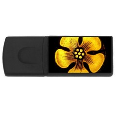 Yellow Flower Stained Glass Colorful Glass USB Flash Drive Rectangular (1 GB)