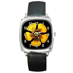 Yellow Flower Stained Glass Colorful Glass Square Metal Watch