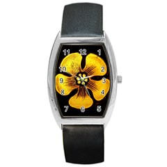 Yellow Flower Stained Glass Colorful Glass Barrel Style Metal Watch