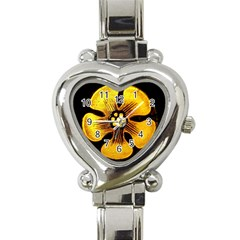 Yellow Flower Stained Glass Colorful Glass Heart Italian Charm Watch