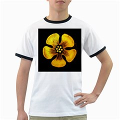 Yellow Flower Stained Glass Colorful Glass Ringer T-Shirts