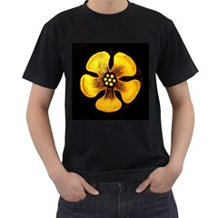 Yellow Flower Stained Glass Colorful Glass Men s T-Shirt (Black) (Two Sided)